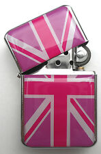 PINK Union Jack British Flag Chrome Windproof Flip Top LIGHTER  UK GB Souvenirs