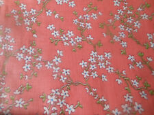 Antique Vintage Coral Pink Vining Small Floral Cotton Fabric ~Dolls Bears Quilts