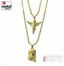 "Men's 14K Gold Plated Jesus & Angel 22"" & 27"" Combo Pendant Necklace MHC 202 G"