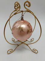 European Glass Handcrafted Pink Ball Ornament Enesco 1996 Made In Poland
