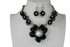 Women Black Fabric Flower Necklace Chain Big Silver Bead Fashion Jewelry Earring