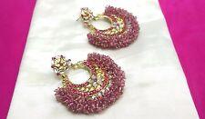 Fashion Earrings Indian Gold Plated Kundan Pink Stone Beads Bridal Jewelry