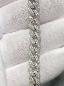 14k White Gold Pave Cuban Link Design Hand Made Tennis Bracelet 5.36ct G/VVS