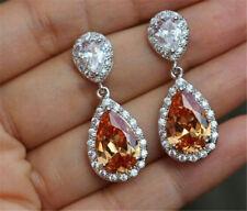 Mystic Teardrop Topaz Gemstone Drop Dangle Hook Zirconia Earrings Silver Jewelry