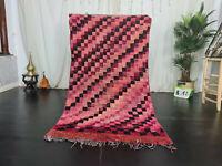Moroccan Vintage Handmade Berber Rug 3.6x6.7 Checkered Purple Black Wool Carpet