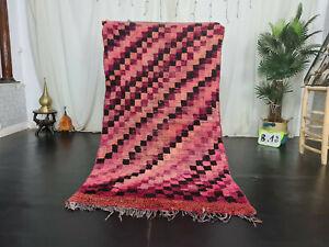 Moroccan Vintage Handmade Berber Rug 3'6x6'7 Checkered Purple Black Wool Carpet