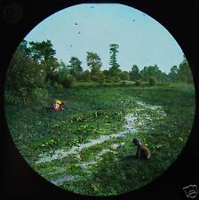 Glass Magic Lantern Slide THE RIVER THAMES AT THE WATERCRESS BEDS C1890 ENGLAND