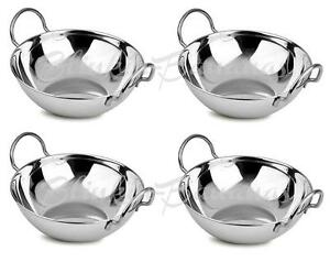 4 LARGE 18CM METAL INDIAN BALTI KARAHI CURRY SERVING DISHES BOWLS WITH HANDLE 7D