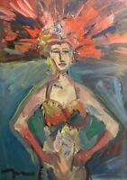 JOSE TRUJILLO OIL PAINTING Original IMPRESSIONISM FIGURATIVE VEGAS SHOWGIRL ART