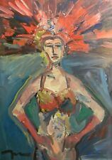 JOSE TRUJILLO OIL PAINTING Original IMPRESSIONISM FIGURATIVE VEGAS SHOWGIRL ART