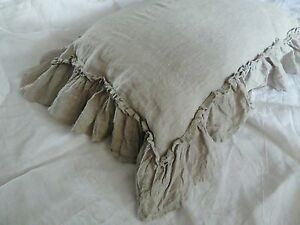 Linen pillowcase with double ruffles inside pocket ruffle bedding natural flax