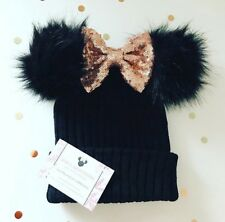 Minnie Mouse Disney Ear Hat rose gold Sequin Bow Winter Beanie knitted Hat cc9ce17f818