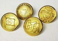 Lot of (4) Vintage Misc. Brass Uniform Buttons - CTA, Cated USMA, Police - B7