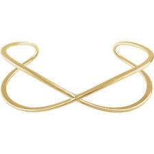 """Criss-Cross Cuff 7"""" Bracelet In 14K Yellow Gold"""