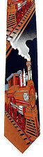 Steam Train Mens Necktie American Model Railroad Engine Track Gift Neck Tie New