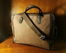 Kitamura Motomachi Shoulder Crossbody Brown Canvas & Leather Trim Briefcase