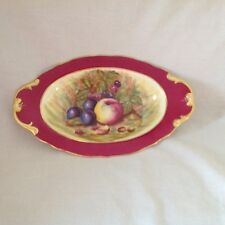 AYNSLEY RED/BURGUNDY OVAL ORCHARD GOLD D JONES BON BON DISH/DISH EXCELLENT FIRST