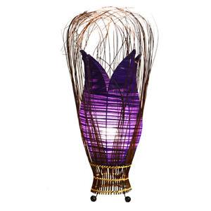 Purple Handmade Fabric Bud Tulip Lamp Floor or Table Fair Trade