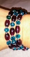 Memory Wire Wrap Bracelet With Dark Mauve & Teal Toned Glass Beads  Handmade
