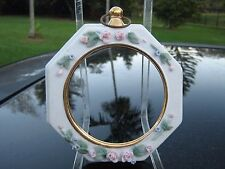 """CIRCULAR FINE CHINA  FRAME DELICATE FLORAL  MARKED BY COMPANY """"N"""" WITH  CIRCLE"""