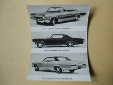 photo de presse originale  CHEVROLET impala cabriolet , caprice coupé, berline