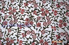 Cotton 10 Yard Hand Block Dress Material Fabric Running Vintage Sanganeri Women