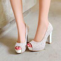 Women Glitter Peep Toe High Heel Bridal Platform Bling Pumps Wedding Party Shoes