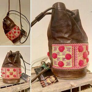 Cute Vintage Handmade Tan Leather & Kilim Aztec Boho Festival Pom Pom Duffle Bag