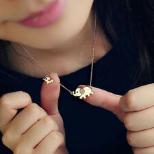 Fashion Women Lady Gold Elephant Pendant Necklace Rhinestone Chain Jewelry Gift