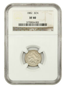 1882 3cN NGC XF40 - Low Mintage Date - 3-Cent Nickel - Low Mintage Date