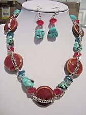 Brown ceramic bead/ Turquoise stone Bead necklace earring Set