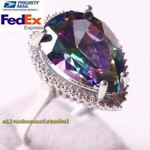Handmade 925 Sterling Silver Heavy Tourmaline Stone Luxury Ladies Womans Ring