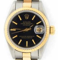 Rolex Datejust Ladies 2Tone 18K Yellow Gold Steel Watch Oyster Black Dial 69173