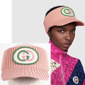 sz L NEW $350 GUCCI Pink Wool INTERLOCKING G LOGO PATCH Rib Knit VISOR HAT NWT