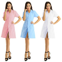 Women's Medical Uniform Button Front Hospital Nurse Scrub Dress Lab Coat Uniform