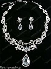 CLIP ON earrings CRYSTAL NECKLACE SET glass teardrop BRIDAL silver rhinestone