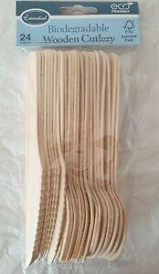 24 pc Wooden Cutlery Bio gradeable Eco Friendly  Travel Set Wooden.