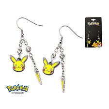 Pokemon Pikachu Lightning Bolt Dangle Earrings Stainless Steel AUTHENTIC
