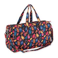 Laurel Burch Multi Feline Cats Quilted Cotton Large Travel Weekender Duffle Bag
