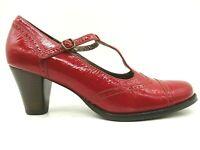 Ecco Red Patent Leather Cap Toe Wingtip Block Heel Shoes Women's 40 / 9 - 9.5