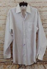 Pronto Uomo shirt mens 16 36/37 striped blue purple button white no iron 2ply B5