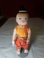 "CLOTH STUFFED CHINESE DOLL 11"" TALL"