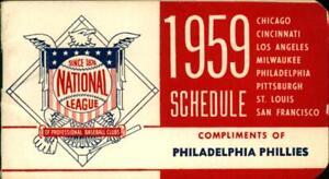 1959 National League Baseball Schedule Compliments of Philadelphia Phillies