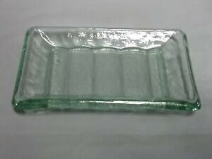 Solid Green Glass Soap Dish Vintage Style Square Thick Glass