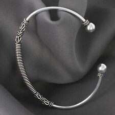 925 Silber Amreif Armspange mit Streifen Armschmuck Damen Herren schmal offen