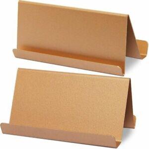 2-Pack Paper Junkie Metal Business Card Holder for Desk, Rose Gold