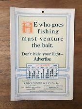 ANTIQUE NOVEMBER 1922 CALENDAR OSBOLDSTONE CO MELBOURNE PRINTER VINTAGE CARD