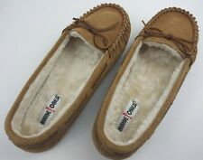 Minnetonka 4032 Brown Faux Fur Lined Leather Moccasins Mens Adult Slippers Sz 13