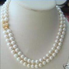 2 rows 7-8MM DOUBLE STRAND WHITE PEARL NECKLACE AAA