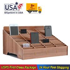 Storage Box Wooden Mobile Phone Desktop Organizer Office Classroom Accessories